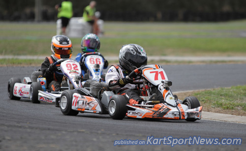 Bronson Boult (#71) on a hard charge in Cadet 12, went on to win the final and also pick up the junior Kerbrider of the day prize