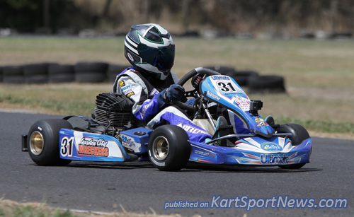 Jaxon Cox (#31) having a great weekend in KA3 Junior Light with a classy clean sweep
