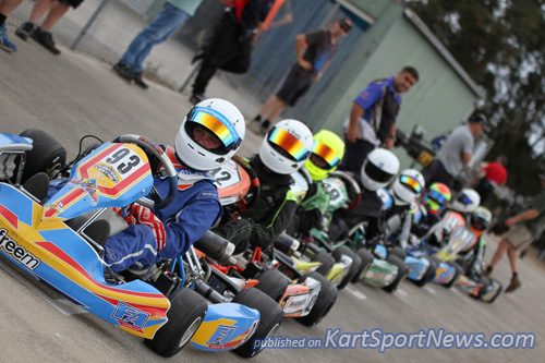Henry Johnstone (#93) off pole in KA3 junior before going on to take out the final after strong heats