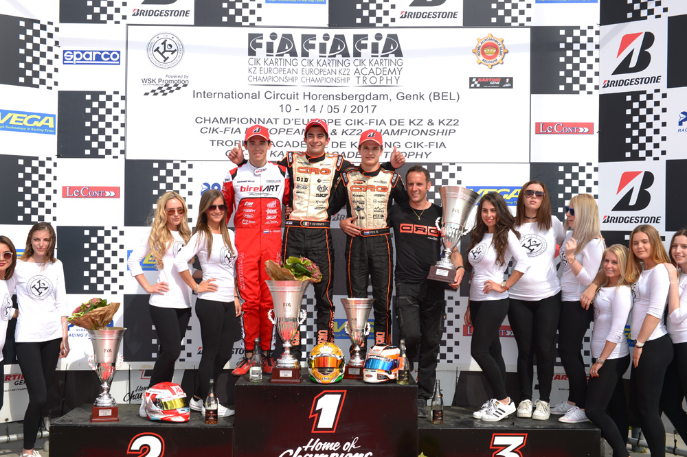 Podium of the 2017 CIK-FIA European KZ Championship, Round 1 (Final), with from left to right: Marijn Kremers (NLD), Paolo De Conto (ITA) & Stan Pex (NLD) [2017 CIK-FIA European KZ Championship, Round 1, Genk/BEL, 14/05/2017] (pic - CIK/KSP)