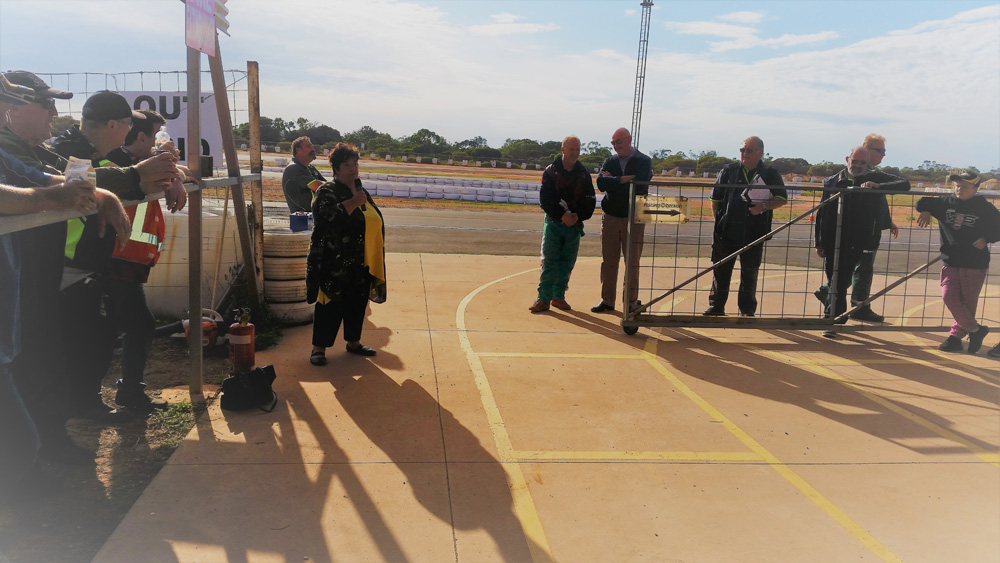 The Mayor of Whyalla, Lyn Breuer, opening the event and congratulating the Whyalla Kart Club for their new track and surrounding upgrades. She was glad to be part of the event and will continue to support the Club in many ways into the future.