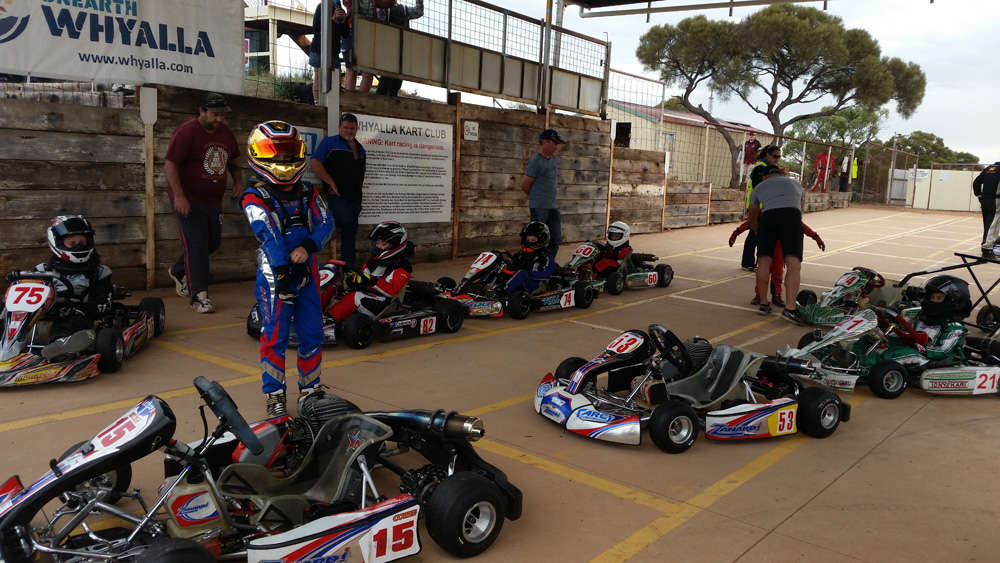 Christian Cowie (15) gets ready for the Cadet 12 final. The Zanardi driver won ahead of Brayden Stewart (75), Jai Hillock (53), Cadence Florentinus (82), Ky Hubner (21) and Liam McCourt (74)