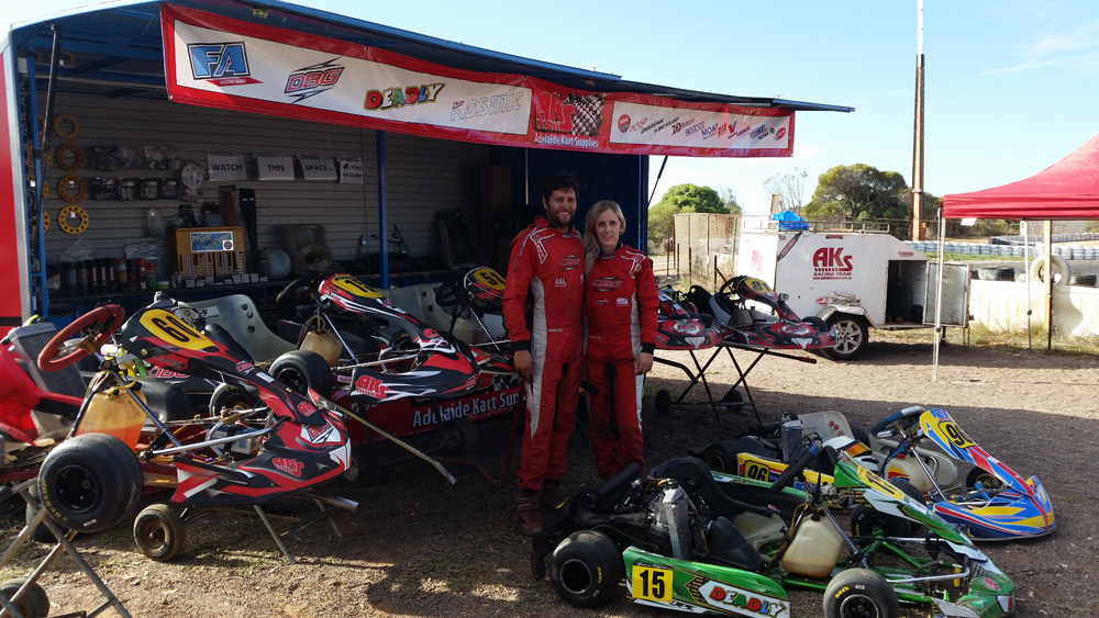 Adelaide Kart Supplies sponsored tyres to give away for the Junior classes - this is their new kart shop trailer. Above, Daniel Boorman and Caroline Kadziela both raced TaG Restricted Light with Daniel taking out the Title win and the $600 Feature cheque.