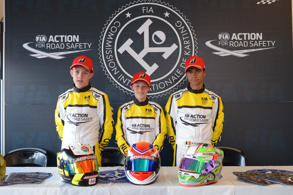 Podium of the 2017 CIK-FIA Karting Academy Trophy, Round 1 (Final), with from left to right: Tijmen van der Helm (NLD), Mike van Vugt (NLD) & Xavier Handsaeme (BEL) [2017 CIK-FIA Karting Academy Trophy, Round 1, Genk/BEL, 14/05/2017] (pic - CIK/KSP)