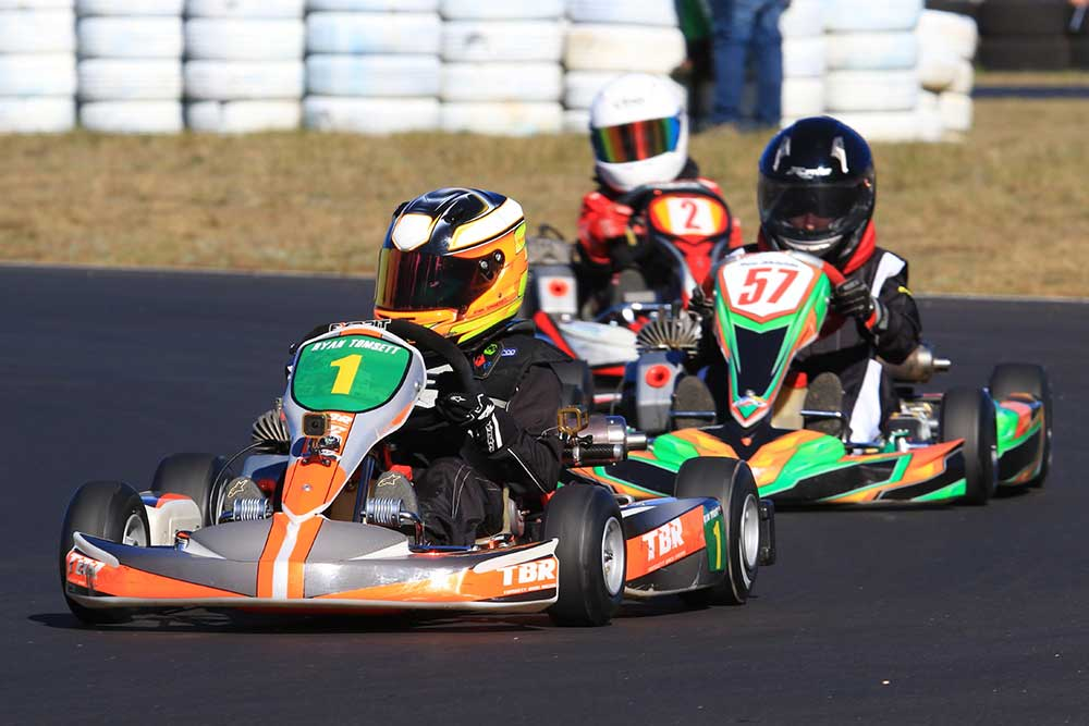 Ryan Tomsett enjoyed a clean sweep of the Cadet 9 class, here ahead of Benjamin Shields (Cadet 12) and Reginald Barry