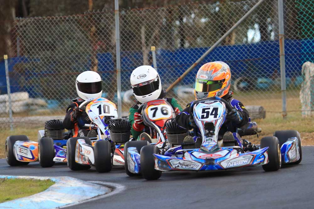 The top 3 in KA4 Junior Light, Joshua Buchan (54), Oliver McLandsborough (76) and Beau Pronesti