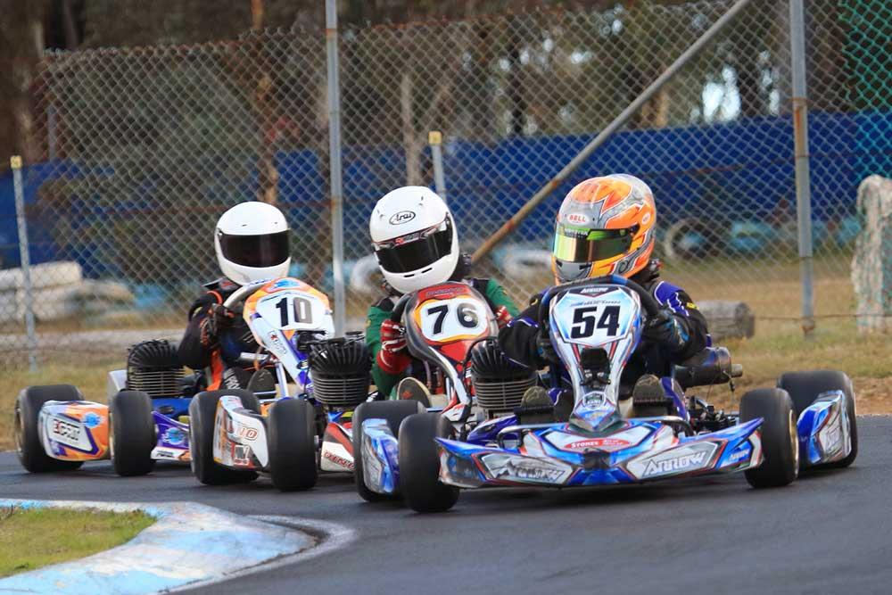 The top 3 in KA4 Junior Light, Joshua Buchan (54), Oliver McLandsborough (76) and Beau Pronesti