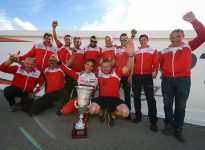 Marijn Kremers and the Birel ART team with the trophy, 2nd in KZ