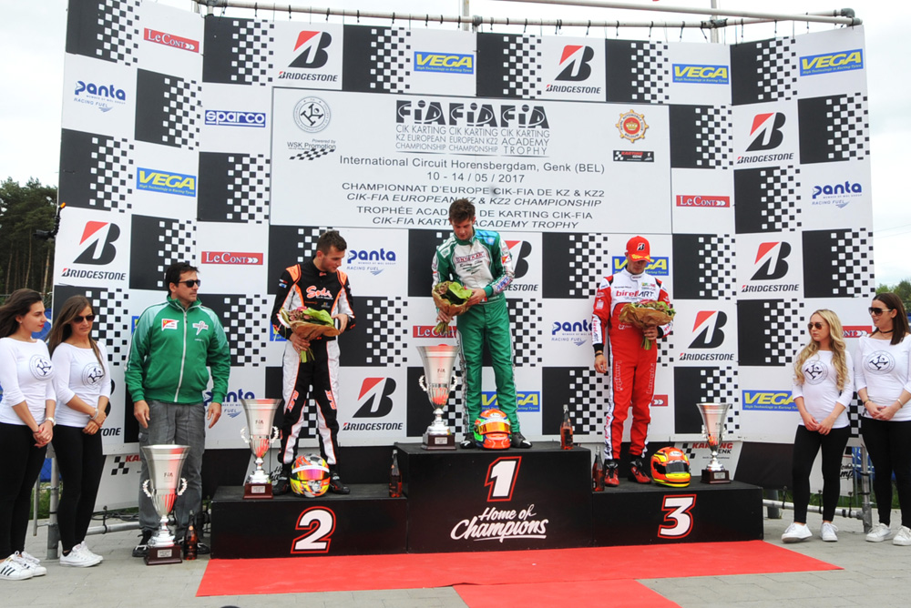 KZ2 podium - Viganò on the first step, together with Irlando, second. On third step is Longhi, before his penalization