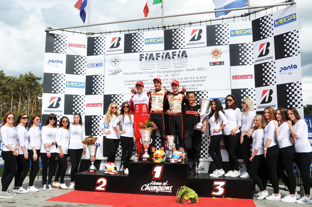 KZ podium - De Conto on first step, together with Kremers, second, and Pex, third (pic - press.net images)