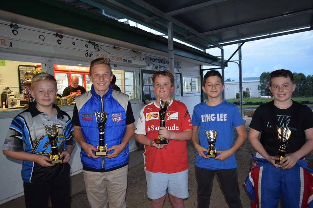 KA4 Junior Light winner – Thomas McTighe (EvoKart Australia) (centre). Zachary Heard 2nd  (Kart1/CC racing), Luke Thomas in 3rd (WSM Racing), 4th Lachlan Campbell and 5th Dimitri Garagounis  (pic - PamsPix)