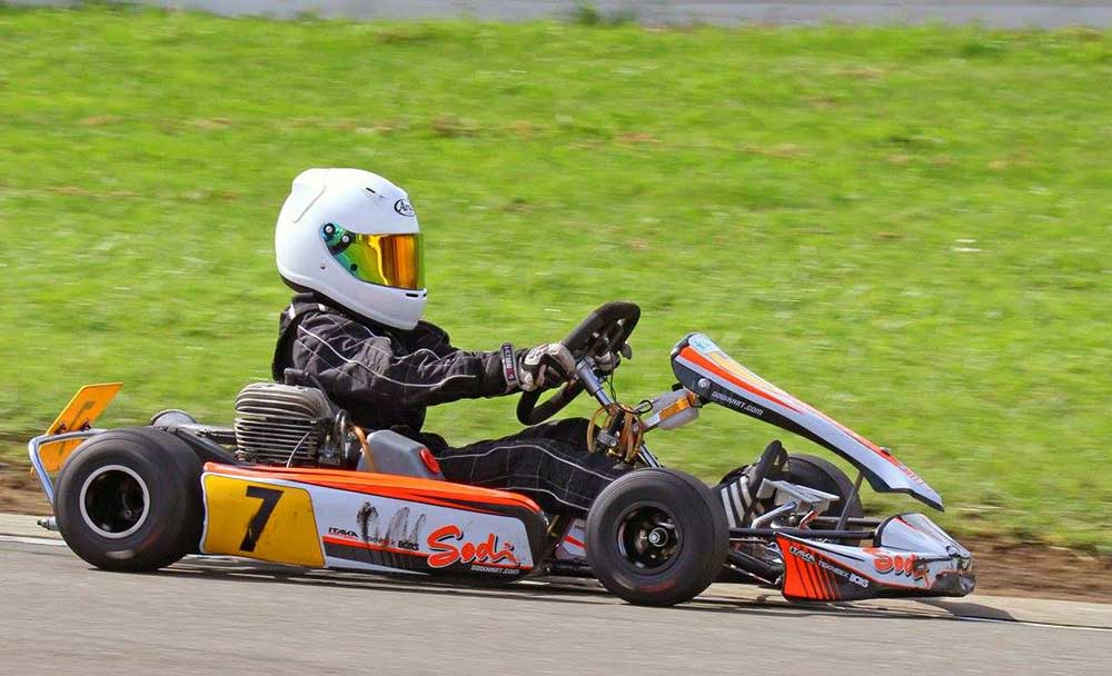 Nelson's Bo Hill (#7) on his way to winning the Vortex Mini ROK class at the 2017 GK Karts Sunbelt Sprint Champs meeting (pic - Chris Hogan)