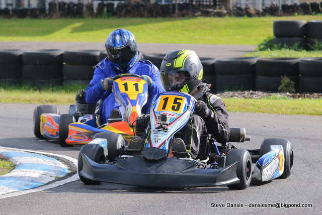 KA3 Light winner Ben Chapman leads karting returnee Max O'Conner who proved fast in his first race meet in many years (pic - Steve Dansie)