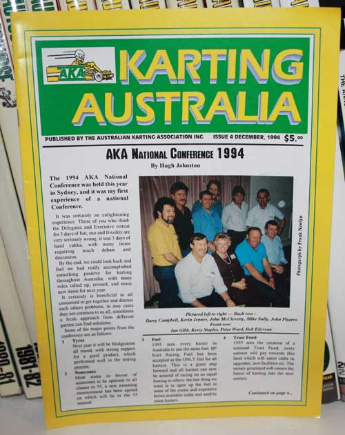 The cover of AKA's Karting Australia magazine of December 1994 featured a photo and information from that year's National Conference