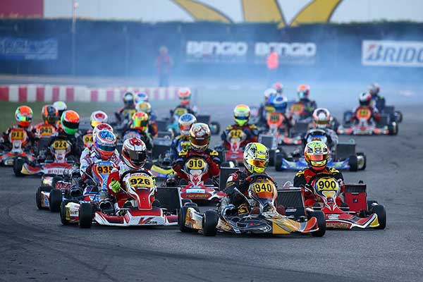The start of the KZ2 Final with Giuseppe Palomba in the lead