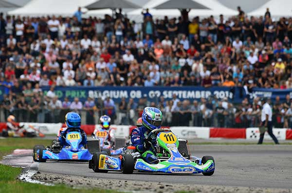 Daniel Bray (KZ2 #111) on his way to second in the Final at the CIK-FIA International KZ2 Super Cup