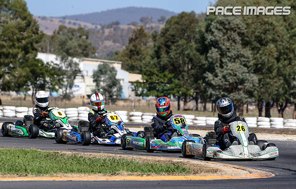 Zane Bright #58 battling for the lead in KA3 Senior Light (pic - Pace Images)