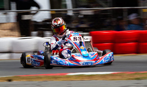 Tristan Griffin at speed Energy kart