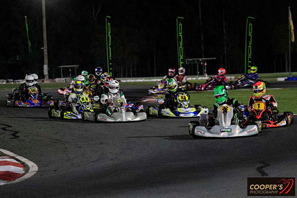 Rotax Heavy, Regan Payne leads Lane Moore (1), Chris Farkas (2) and James Macken (89) (pic - Coopers Photography)